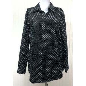 Jones New York 1X Polka Dots Blouse 100% Cotton